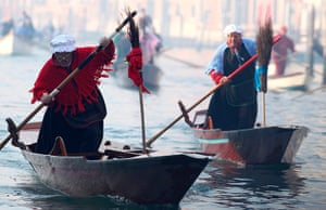 Epiphany Day: Men in traditional Befana costumes in Venice