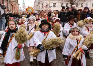 Epiphany Day: Children wear traditional dresses as they parade