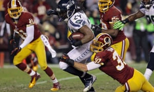0b599603c Seattle running back Marshawn Lynch ran for 132 yards helping his Seahawks  defeat the Washington Redskins