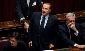 Italy's former Prime Minister, Silvio Berlusconi,. in parliament during ta Budget debate.a