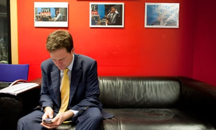 Nick Clegg at BBC TV centre for Radio 5 Live phone