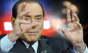 An animated media mogul Silvio Berlusconi, leader of the centre right People of Liberty party, during his appearance on Radio RTL at their studios in Milan early 7 January 2013.