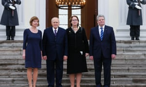 German President Joachim Gauck, right, and his partner Daniela Schadt, left, welcome the president of Greece, Karolos Papoulias, centre left, and his wife, May, second right, in Berlin, for lunch at the president's residence Bellevue Palace on Monday, Jan. 7, 2013.