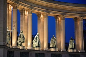 World subways: Detail of Millenary Monument in Heroes' Square, Budapest