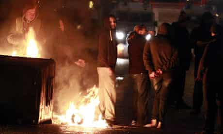 Loyalists rioting in Belfast