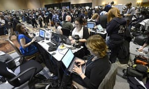 Journalists report on the Consumer Electronics Show in Las Vegas