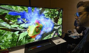 An LG ultra-high definition television with 3D at the Consumer Electronics Show in Las Vegas.