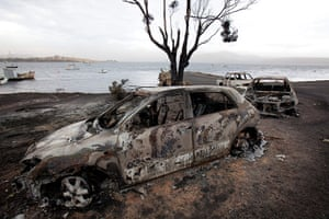 Australia heatwave: Burnt out cars at the jetty on the Tasman Peninsula in Boomer Bay, Tasmania