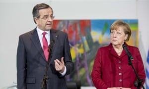 German chancellor Angela Merkel (right) and Greek prime minister Antonis Samaras give statements to the media following a meeting between the two leaders at the Chancellery on 8 January 2013 in Berlin, Germany.