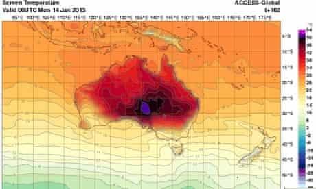 Australian Bureau of Metereology temperature map
