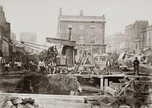 Tube through the decades: Construction of the Metropolitan Railway, London, 1866.