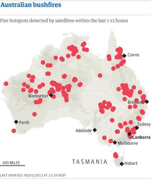 Map: Bush fires sweeping Australia