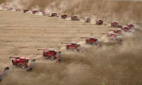 Soybeans are harvested at the Fartura Farm in Campo Verde, Brazil