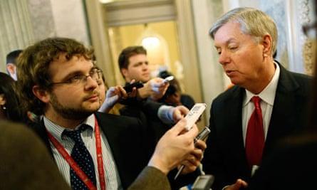 Senator Lindsey Graham talking to media on Capitol Hill