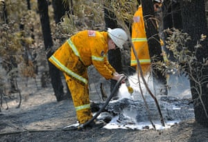 Wildfires Australia: Firefighters douse burning logs from the Deans Gap fire