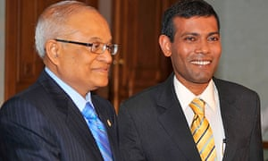 Maumoon Abdul Gayoom (left) with the man who succeeded him, Mohamed Nasheed