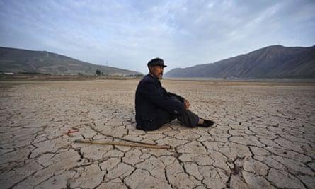 Dried-up riverbed in Gansu, China