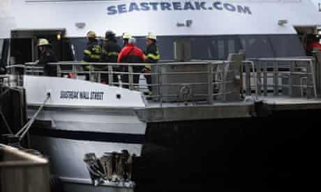 A gash in the Seastreak ferry is viewed following a ferry accident during rush hour in Lower Manhattan at Pier 11 in New York.