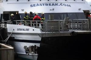 Seastreak ferry: A gash in the Seastreak ferry is inspected
