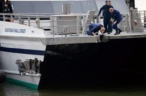 Seastreak ferry: Investigators look over the damage of Seastreak ferry that struck a dock