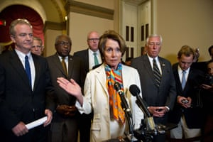 House Minority Leader Nancy Pelosi speaks to the press with other Democratic lawmakers at the US Capitol in Washington on September 30, 2013.