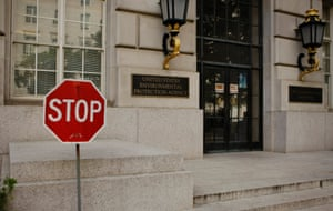 A stop sign is seen at one exit of the United States Environmental Protection Agency in Washington last night.