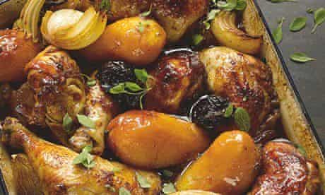 Chicken with potatoes, prunes andpomegranate molasses