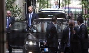 Italian deputy prime minister Angelino Alfano leaves the Palazzo Grazioli after a summit with Berlusconi at the latter's residence in Rome, 01 October 2013.