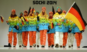 Athletes from the German Olympic and Paralympic team show off the kit they'll be wearing at the 2014 Winter Olympics in Sochi