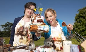 Mel, Sue and a cake-shaped object in the Great British Bake Off.