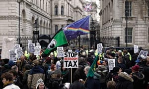Protestors demonstrate against the government's bedroom tax outside Downing Street in March