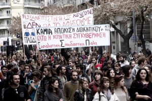 Yesterday. hundreds of administrative employees and students of the Greek universities took part to a protest march in Thessaloniki against austerity measures.