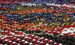People in coordinated colours take part during Taiwan's National Day celebrations in Taipei. This year marks the 102nd anniversary of the founding of the Republic of China.