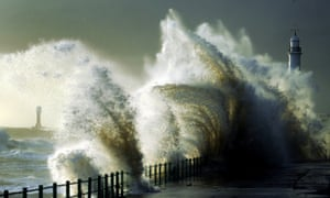 Strong winds whip up huge waves battering the coast at Seaburn near Sunderland, as Britain experiences a short, sharp shock of colder temperatures after the Indian summer.