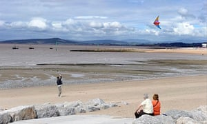 The view across Morecambe Bay to the hills of the Lake District