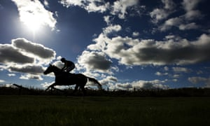 A runner makes its way to the start at Exeter racecourse, UK, on a lovely autumn afternoon.