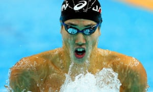 Hiromasa Fujimori of Japan is on his way to win the silver medal in the men's 200m Individual Medley final during the swimming competitions at the 6th East Asian Games in Tianjin, China,.