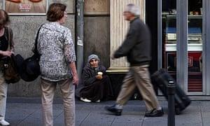 A beggar in central Madrid