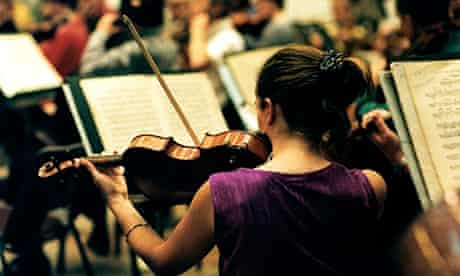 Viola player in orchestra - view over shoulder, from behind BBC National Orchestra of