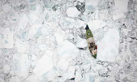 Arctic Sunrise among broken floes of Arctic sea ice
