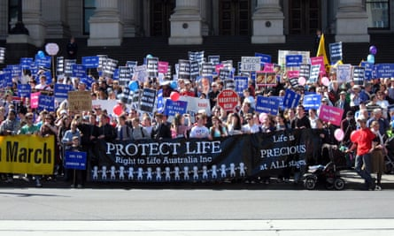Anti-abortion campaigners protest outside the Victorian parliament in 2008
