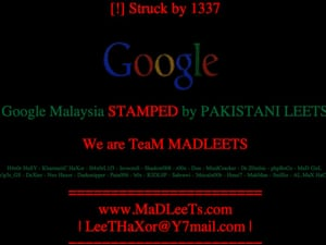 Google Malaysia hacked by Pakistani group's DNS redirect attack.