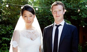 Facebook founder Mark Zuckerberg and his wife, Priscilla Chan, on their wedding day