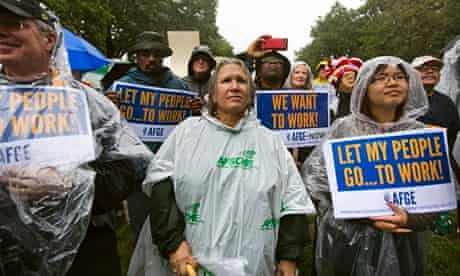 US federal employees protest against the government shutdown in Washington as the debt crisis looms.