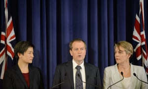 (L-R) Opposition Senate Leader Penny Wong, Opposition Leader Bill Shorten and Deputy Opposition leader Tanya Plibersek hold a media conference at Parliament House in Canberra, Monday, Oct. 14, 2013. The Labor party has elected Tanya Plibersek as deputy leader. (AAP Image/Lukas Coch) NO ARCHIVING News Current Affairs Politics Political Politician Politicians