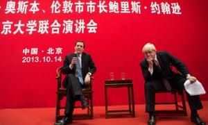 George Osborne and Boris Johnson holding a Q&A at Peking University in Beijing.