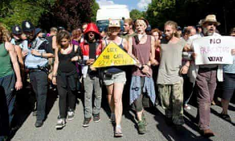Anti-fracking activists in Balcombe, West Sussex, in August