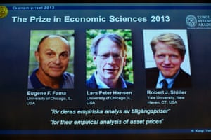 The pictures on screen show from (L-R) the Laureates in Economic Sciences 2013, US trio Eugene Fama, Lars Peter Hansen and Robert Shiller.