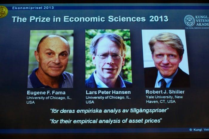 Nobel prize in economics won by Fama, Hansen and Shiller