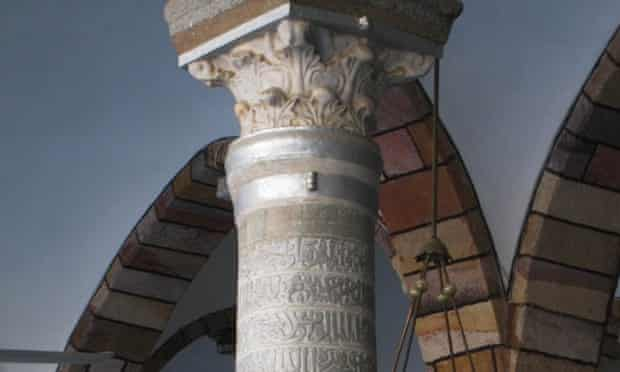 Five hundred-year-old Abbasid columns in the Grand Mosque, now destroyed.